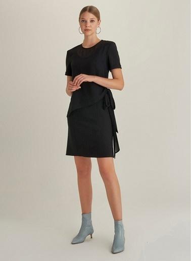 NGSTYLE Şifon Katmanlı Elbise Siyah
